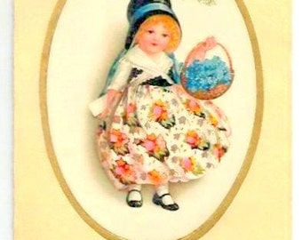 Vintage -NEW YEAR's GREETINGS -Sweet Little Girl, medaillon- Forget me not Flowers,basket -French colorful written postcard- Good Condition
