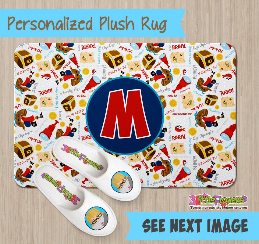 Personalized Pirate Rug Personalized Plush Rug