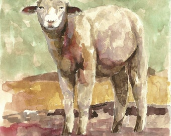 Lamb original watercolor painting Lamb art Lamb wall hanging Sheep painting sheep wall art lamb picture children's room decor