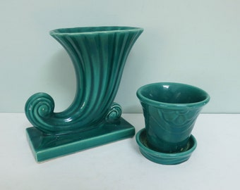Two 1940s Green Shawnee Art Pottery Pieces, Cornucopia Vase & Flower Pot