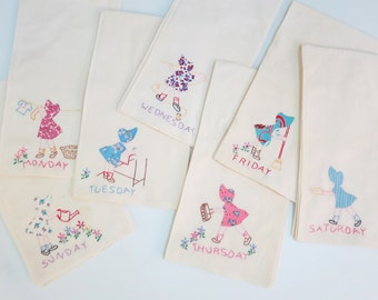 Set of 7 Busy Bonnet Lady Dish Towels, Days of the Week, Hand Embroidered Ecru Flour Sacks, Daily Chores