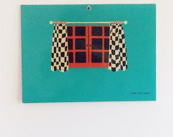 Dutch Mid Century school spelling print / 1950s 60s window drawing / children alphabet wall illustration