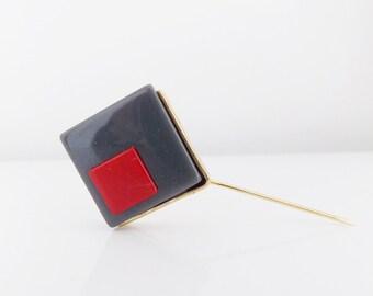European art deco Modernist lucite Stick Hat Pin,1930s 1940s geometric coat pin