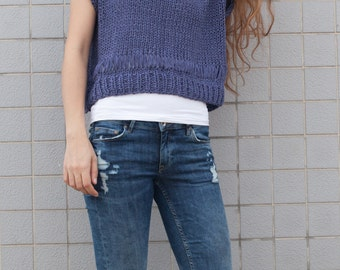 Hand knit woman cotton sweater  blue Tank loose knit cropped Tank orchid blue pullover crop vest