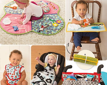 Baby Accessories - Simplicity 8110 -  Stroller or Car Seat Blanket, Stroller Organizer, Play Mat, High Chair Activity Mat and Bib