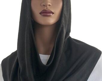 Koul SHôl Head Hoodie™ Veil Black Embossed Design Cowl Hoodie Women's Hoodie Hijab Hoodie Handmade