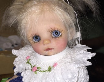 """OOAK Hand Sculpted Original Polymer Clay 8"""" Baby Toddler doll """"Arya"""""""