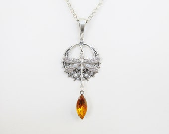Dragonfly Charm Necklace Amber Rhinestone Drop