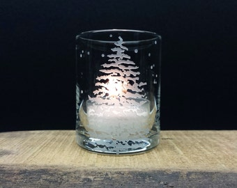 Fir Tree and Floating Flakes Votive Holder Engraved Glass Candle Holder Winter Holiday Home Decor Winter Wedding Favors