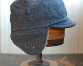 Woodsman S: tweed winter hat with earflaps, gray wool cap with cozy wraparound ear flap, warm hat for men or women, one of a kind hat
