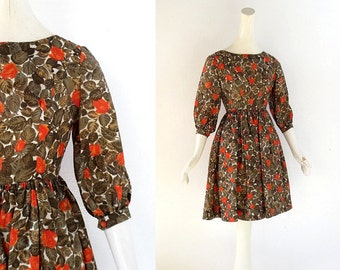 Vintage 1950s Dress / Bohemian Rose Print Dress / 50s Party Dress / XXS