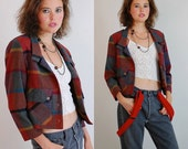 Plaid Crop Jacket Vintage 60s Wool Buffalo Plaid Crop Preppy Mod Jacket (s m)