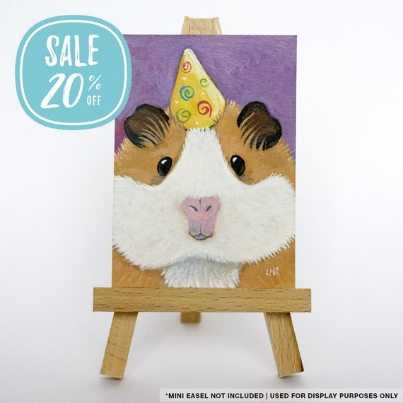 ON SALE | Original ACEO Ginger & White Guinea Pig in a Party Hat, Cavy Art Illustration