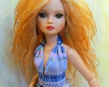 Mohair Wig for Ellowyne Wilde Imagination Doll Size 6.5 ooak Ready Made Tibetan Lamb Apricot Blond