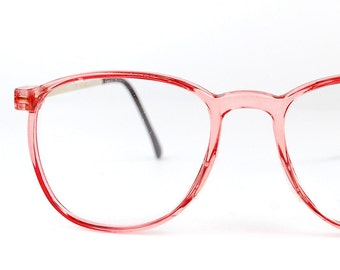 Vintage NOS 1980s Clear Pink Glasses Oversized Retro Wayfarer Eyeglasses Frame Japan Womens Unisex Renaissance