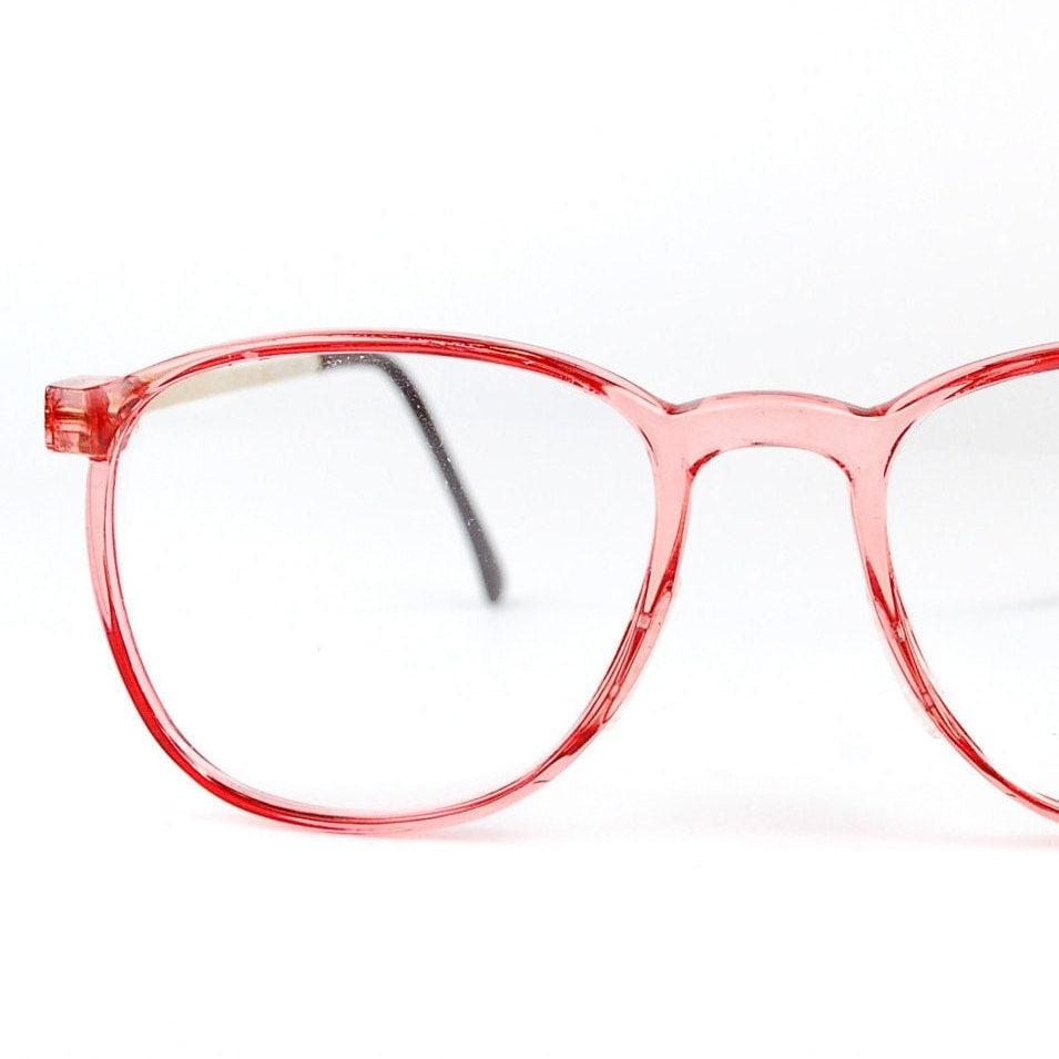 vintage nos 1980s clear pink glasses oversized retro wayfarer