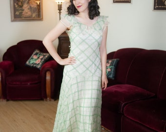 Vintage 1930s Dress - Darling Green Embroidered Eyelet Sheer Off White Silk Chiffon 30s Garden Party Gown with Ruffled Collar