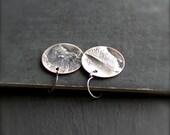 Rustic Round Disk Earrings - No. 1, Reticulated Sterling Silver on Copper, 19mm, Drop Earrings, Dangle Earrings, Metalwork Jewelry