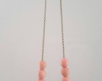 Pink and brown beaded wood necklace