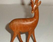 Vintage Wood Antelope - Hand Carved Gazelle - African Wildlife Statue - African Deer - Small Wood Statue - African Art - Carved Wood Deer