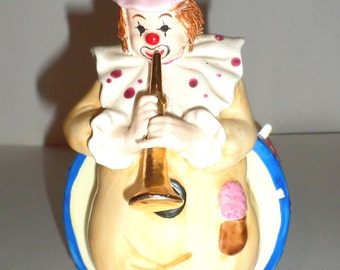 Vintage Enesco Clown Music Box - Porcelain Music Box - Horn Playing Clown - Be A Clown - Nursery Room Decor - 1985 Enesco Clown Music Box