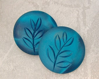 ENORMOUS Shank Buttons 39mm - 1 1/2 inch Ocean Teal Blue Carved Leaf Vintage Buttons - PAiR of VTG Marbled Blue Plastic Sewing Buttons PL033
