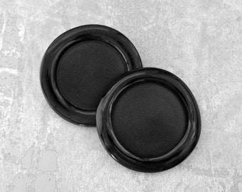 iMMeNSe Black Buttons 50mm - 2 inch Black Wacky Waffle Rim Vintage Buttons - Pair of 2 VTG Retro Mod Glossy Satin Plastic Shank Button PL244