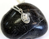 Tiny Moon Raven Charm Necklace in Solid Sterling Silver 104