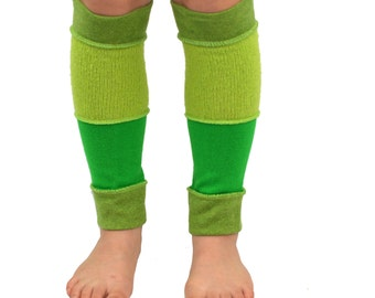 Leg Warmers for Kids in Lime Apple and Sage Green - Recycled Sweaters - Eco Friendly