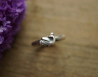 Silver Peacock Stacking Ring Sterling Silver Handmade Ring Size 7.5