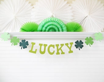 Lucky St Patricks Day Banner - 5 Inch Letters with 4 Leaf Clovers - St Patrick's Day Decoration Lucky Banner Lucky 4 Leaf Clover Garland