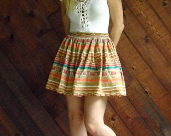 Ethnic Stripe Printed FULL Festival Boho Mini Skirt with Bloomers - Vintage 60s 70s - SMALL S