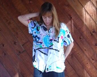 Splatter Paint Print Button Down Blouse Shirt - Vintage 80s 90s - M L