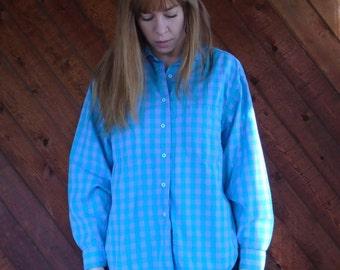 Green Purple Plaid Flannel Long Sleeve Shirt- Button Down - Vintage 80s - MEDIUM LARGE M L