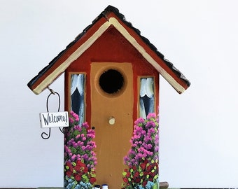 Flowery Orange Birdhouse , Handmade , Hand Painted , with Clean Out