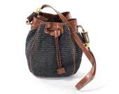 Italian Leather Purse Carla Marchi Black Basket Authentic Designer Bucket Bag Satchel