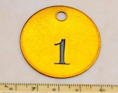 "Total 1.5"" Brass Number Tag Antique Victorian Numbered Motel Room Key Fob Tag Diy Collage Jewelry Repurpose"
