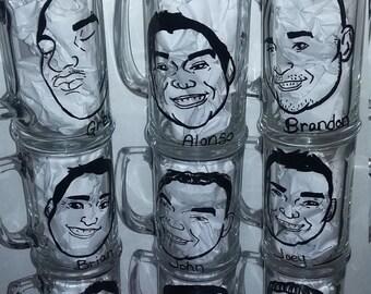 9pc, Caricature glasses, Groomsmen Gift, Wedding glassware, groomsmen caricature, custom Wedding Glass, Caricature mug, Wedding favor