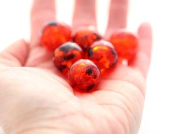 Vintage Orange Confetti Lucite Marble Round Beads 20mm (4)