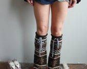 Earthy Brown Fair Isle Nordic Star Upcycled Recycled Eco Friendly Sweater Knit Flared Leg Warmers Legwarmers Boot Covers Accessories