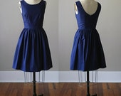 Kelly Scoop Back Dress / Midnight / Navy / Custom / Rustic / Bridesmaid / Party / Wedding / Handmade in USA / Summer / Blue / 60s Retro