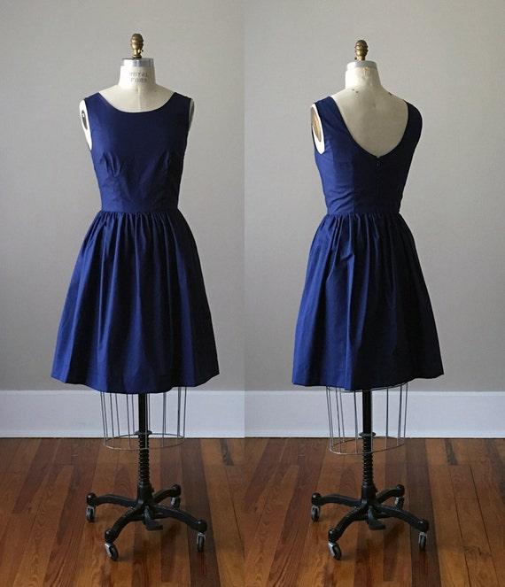 Kelly Scoop Back Dress / Midnight / Navy / Custom / Rustic / Bridesmaid / Party / Wedding / Handmade in USA / Summer / Blue / 60s Retro
