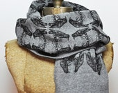 Hand Printed Raven Pattern Scarf - Eco Fleece