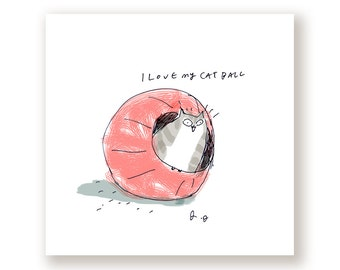 Cat Ball- Funny Cat Print
