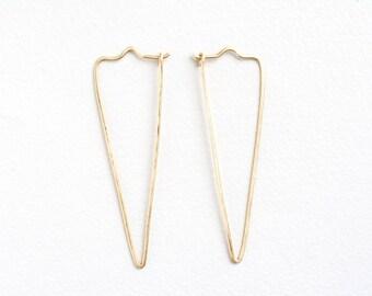 Gold hoops, triangle hoop earrings, simple hoops