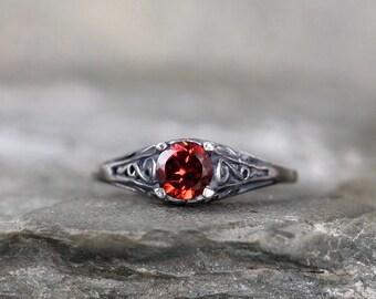 Garnet Ring - January Birthstone Ring - Antique Style Garnet Ring - Dark Sterling Silver - Garnet Gemstone Rings - Filigree Ring