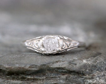 Antique Style Rough Diamond Engagement Ring - Raw Uncut Rough Diamond Gemstone and Sterling Silver Filigree Ring  - April Birthstone