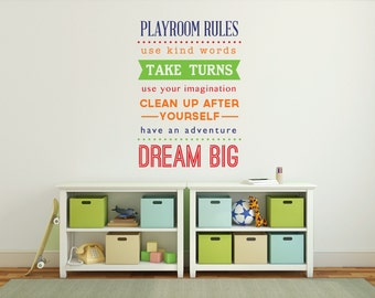 Playroom wall decal, Playroom rules sign, Kids wall decal, Playroom decor, Playroom wall art, Children's playroom vinyl wall decal DB403