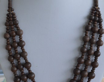 Pretty Vintage Brown Wooden Triple-Strand Beaded Necklace, Tribal