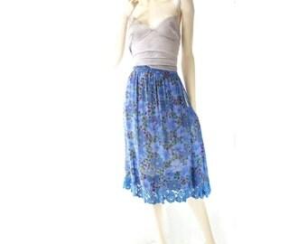 Vintage Floral Skirt, 70s Blue Silk Skirt, Vintage Lace Skirt, 40s Fabric Skirt, Blue Lace Skirt, Vintage Blue Floral, s